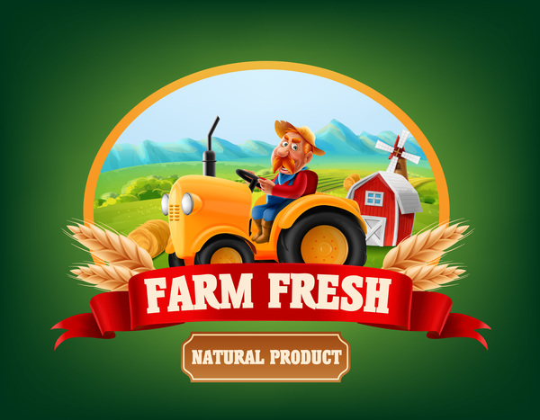 Farm organic food label vector 03