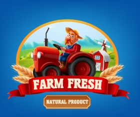 Farm organic food label vector 04