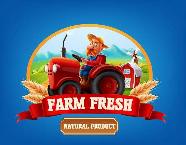 Farm organic food label vector 04