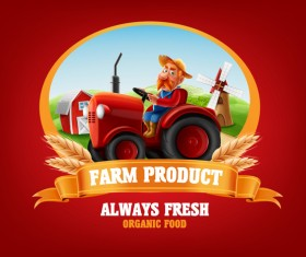 Farm organic food label vector 06