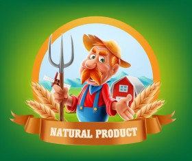 Farm organic food label vector 07