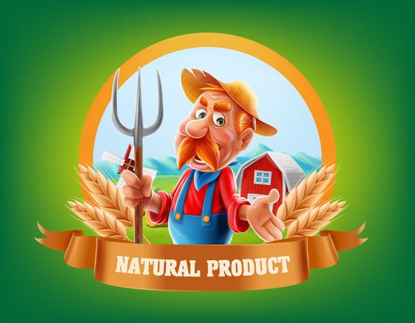 Farm organic food label vector 07