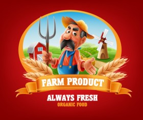 Farm organic food label vector 08