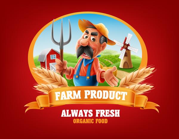 Farm organic food label vector 08