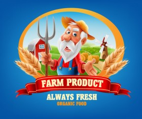 Farm organic food label vector 09