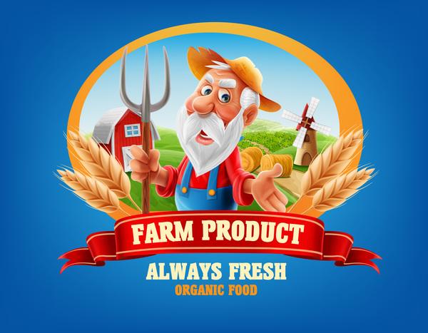 Farm organic food label vector 09