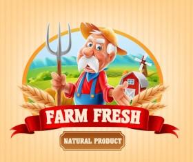 Farm organic food label vector 10