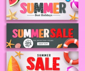 Fashion summer sale banners vectors