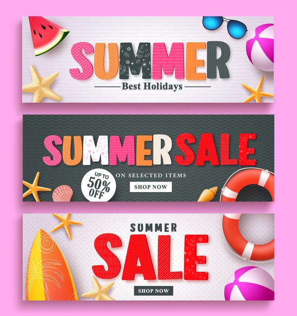 Fashion summer sale banners vectors