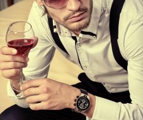 Fashionable men drinking Stock Photo