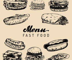 Fast food vintage menu vectors
