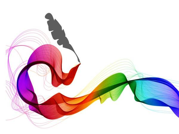 Feather pen with abstract wave background vector