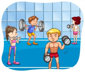 Fitness cartoon people vector 01