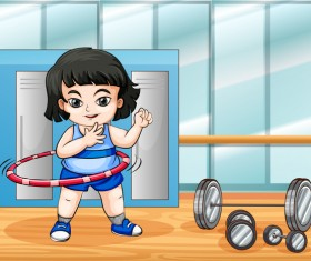 Fitness cartoon people vector 05