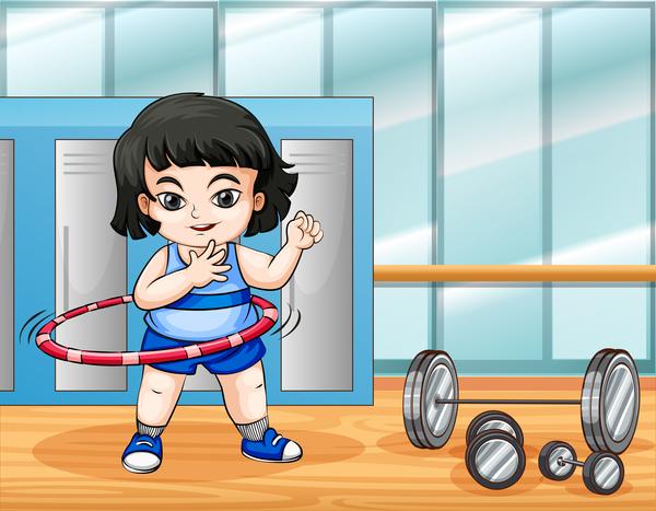 Fitness cartoon people vector 05