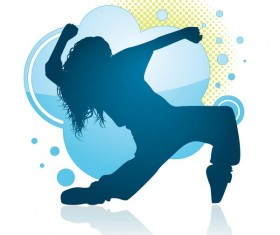Fitness dance blue silhouette vector material 02