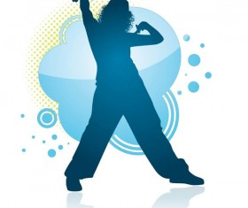 Fitness dance blue silhouette vector material 03