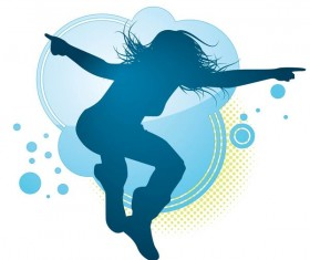 Fitness dance blue silhouette vector material 04