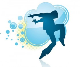 Fitness dance blue silhouette vector material 05