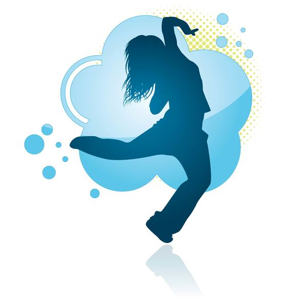 Fitness dance blue silhouette vector material 06