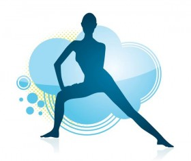 Fitness dance blue silhouette vector material 08