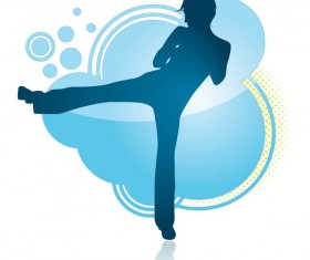 Fitness dance blue silhouette vector material 09