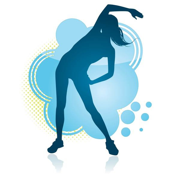 Fitness dance blue silhouette vector material 10