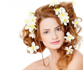 Flower in the womens hair Stock Photo 04