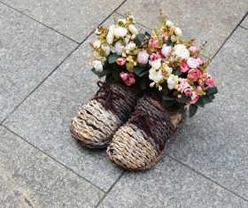 Flowers in shoes Stock Photo 04
