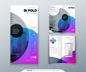 Fold brochure with flyer cover template vector 01