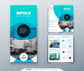 Fold brochure with flyer cover template vector 02