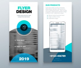Fold brochure with flyer cover template vector 05