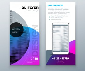 Fold brochure with flyer cover template vector 06