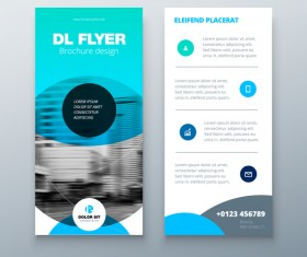 Fold brochure with flyer cover template vector 07