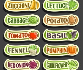 Food sticker banner vector 04