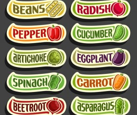 Food sticker banner vector 05
