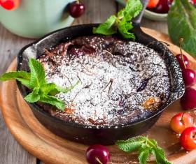 French dessert cherry clafoutis Stock Photo 01