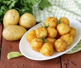 Fried potato balls Stock Photo 02