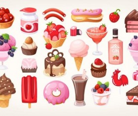 Fruit chocolate desserts vector illustration