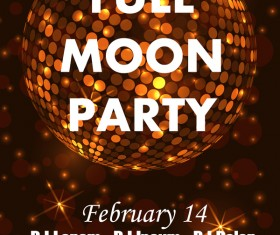 Full moon party flyer with poster template vector 01