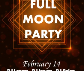 Full moon party flyer with poster template vector 02