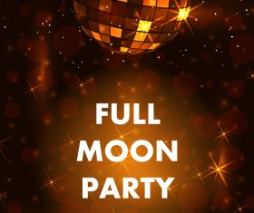 Full moon party flyer with poster template vector 03