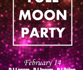 Full moon party flyer with poster template vector 04