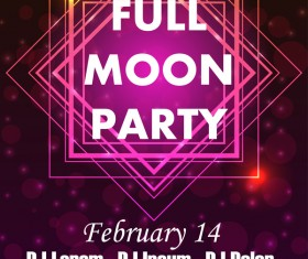 Full moon party flyer with poster template vector 06