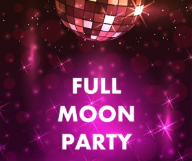 Full moon party flyer with poster template vector 07