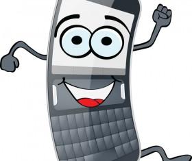 Funny cartoon mobile phone vector 01