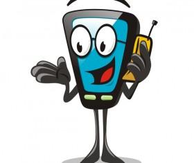 Funny cartoon mobile phone vector 02