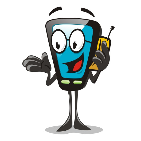 Funny Cartoon Mobile Phone Vector 02 Free Download