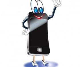 Funny cartoon mobile phone vector 03