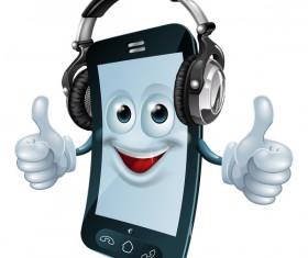 Funny cartoon mobile phone vector 04